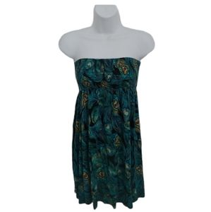 Rusched Dress with Teal Peacock Feathers, S